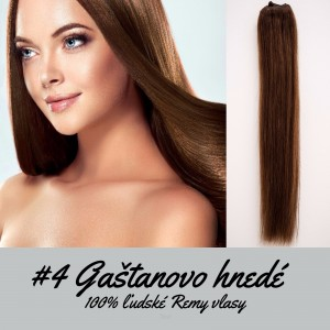 Gaštanovo hnedé / 50cm / 165g / Clip in vlasy