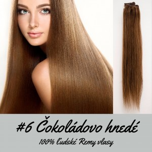 Čokoládovo hnedá / 50cm / 220g / Clip in vlasy