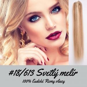 Svetlé melírové / 50cm / 55g / Clip in vlasy