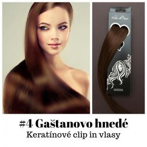Gaštanovo hnedé / 50cm / 165g / Keratínové  clip in