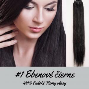 Ebenovo čierna / 50cm / 165g / Clip in vlasy